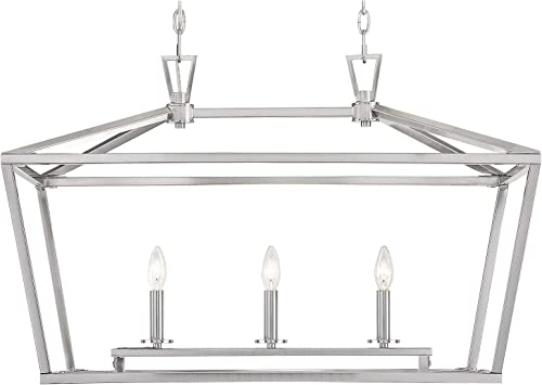 Savoy House 1-323-3-SN Townsend 3-Light Linear Chandelier in a Satin Nickel Finish 32 W x 21 H