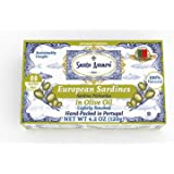 SANTO AMARO European Wild Sardines in Pure Olive Oil (12 Pack, 120g Each) Lightly Smoked - Europe Style! 100% Natural…