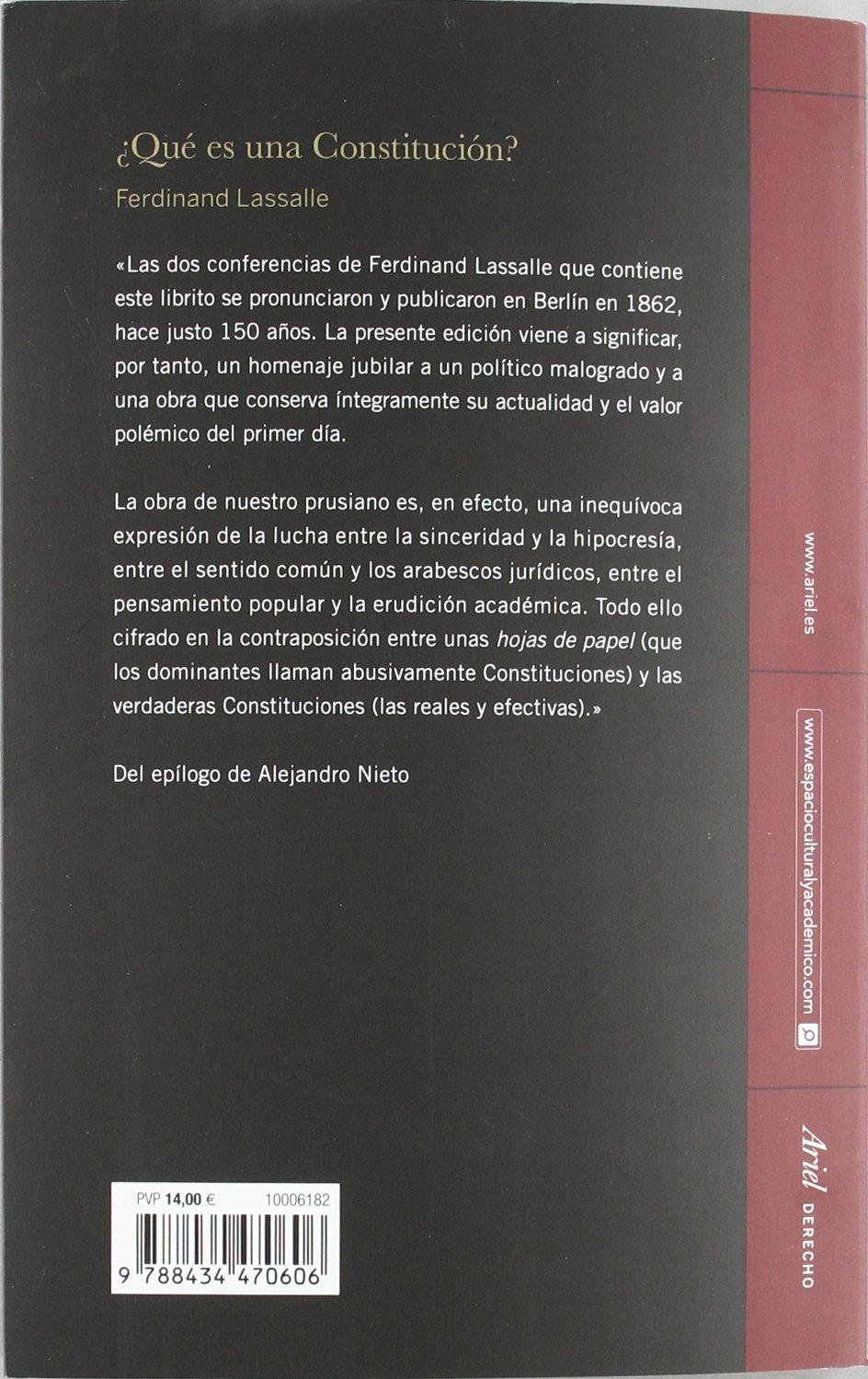 Qué es una Constitución? (Ariel Derecho): Amazon.es: Lassalle, Ferdinand, Roces, Wenceslao: Libros