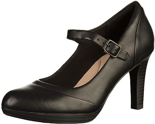 7fd08945cf47 Clarks Womens Shoe Adriel Carla Black Leather 3.5 D