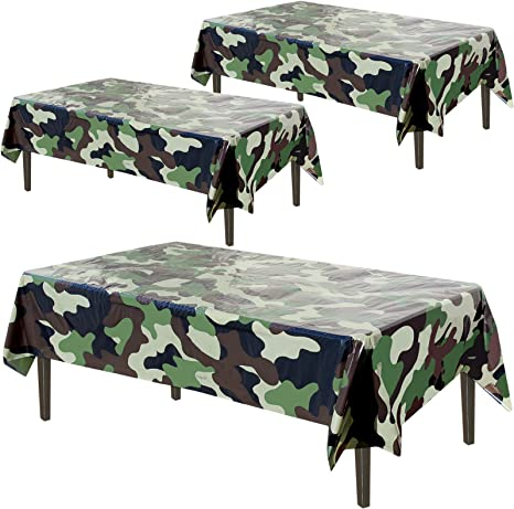 Amazon Com Army Plastic Tablecloth 3 Pcs Pack 54 Inch Wide X 108 Long Rectangular Camouflage Table Cover Military Party Decorations Camo By Anapoliz Kitchen Dining