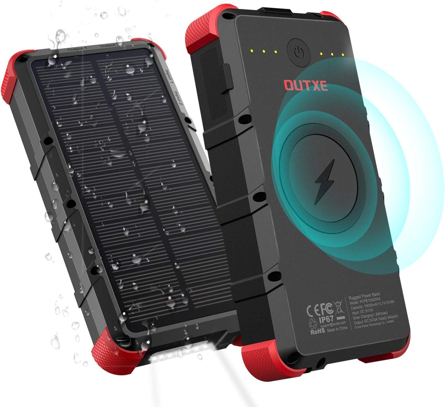 OUTXE 20000mAh Solar Wireless Power Bank con Linterna 4A Dual Input Rugged Portable Charger: Amazon.es: Electrónica