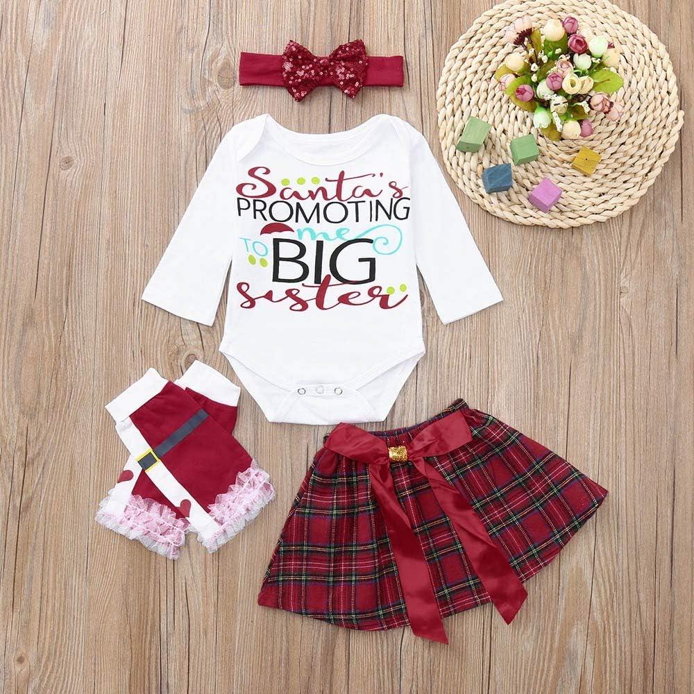 AMSKY❤ Baby Outfit Hangers,Newborn Baby Girls Christmas Romper+Bow Skirt+Leg Warmer+Headbands Set Clothes