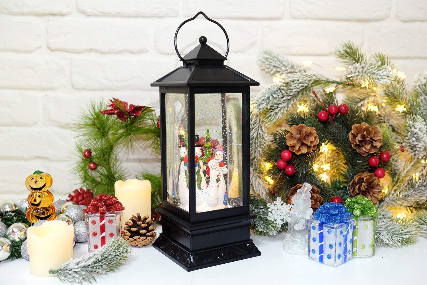 Eldnacele Singing Battery Operated Musical Lighted Christmas Snowman Water Glittering Swirling Snow Globe Lantern with Music Christmas Home Decoration and Gift Snowman Family CDF-4