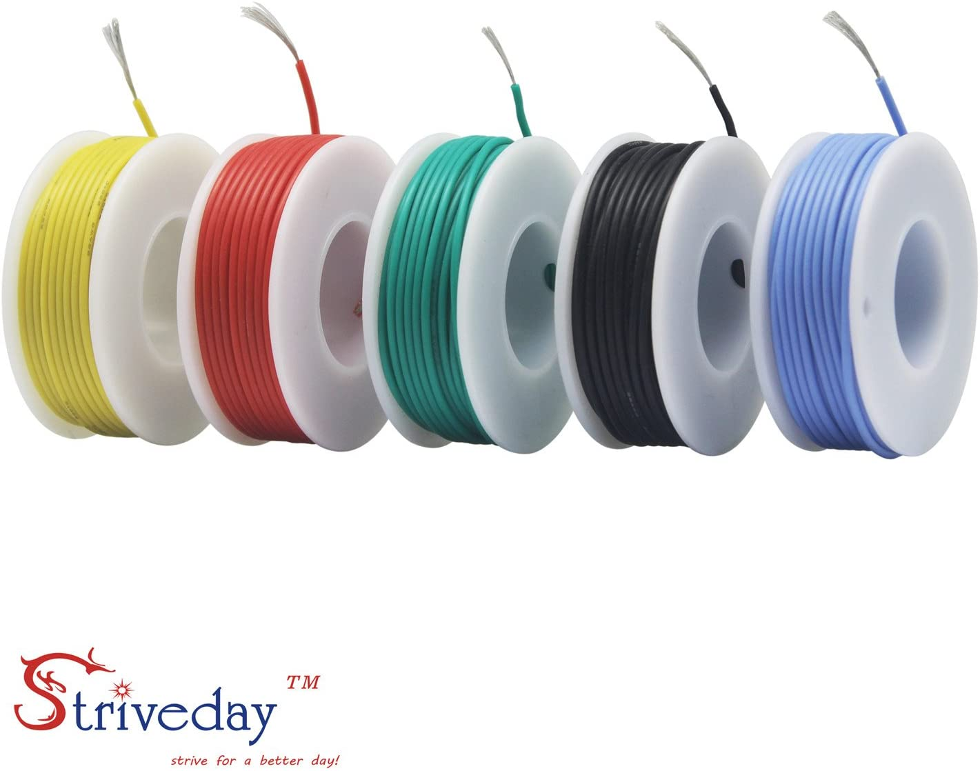 Striveday 30 AWG Flexible Silicone Wire Electric wire 30 gauge Coper Hook Up Wire 300V Cables electronic stranded wire cable electrics DIY BOX-1 - -