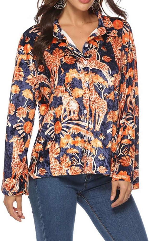 WODENINEK Nueva Camiseta De Principios De Primavera para Mujer Tela De Terciopelo Diseño Animal Print Top Camisas De Mujeres Populares,S: Amazon.es: Hogar