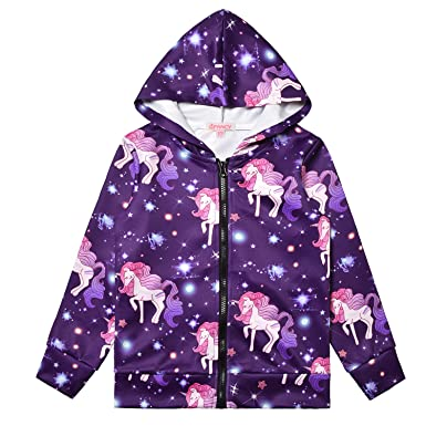 f19ad7d18cd9de Amazon.com: Girls Hoodie Unicorn Jacket Zip Up Sweatshirt Clothes with  Pockets: Clothing
