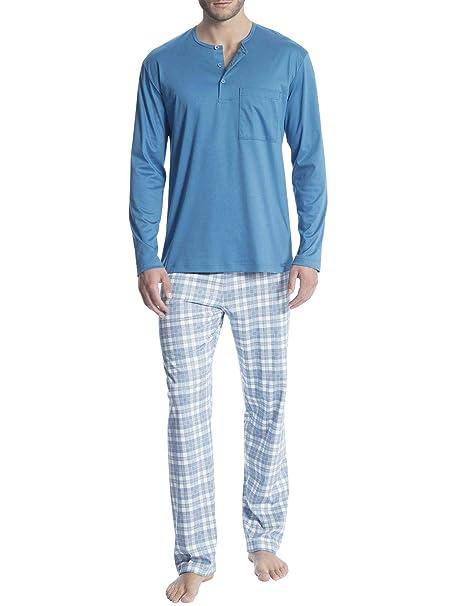 5d8ac633b4 Calida Relax Selected Pyjama mit Knopfleiste Herren: Amazon.de ...