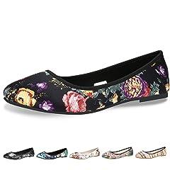 2953d2fc45e8 CINAK Floral Flats Shoes for Women Gift Classic Black Walking ...