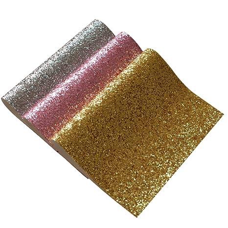 Hojas de tela gruesa con purpurina, 3 piezas de colores ...