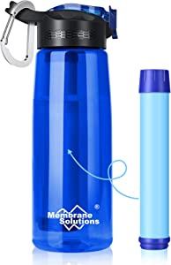 Membrane Solutions Water Filter Bottle, 0.1 Micron 4 Stage Ultra-Filtered Water Bottle, Portable Outdoor Water Purifier Survival Gear for Camping Hiking Travel Emergency, BPA-Free, Leak-Proof, 22 oz