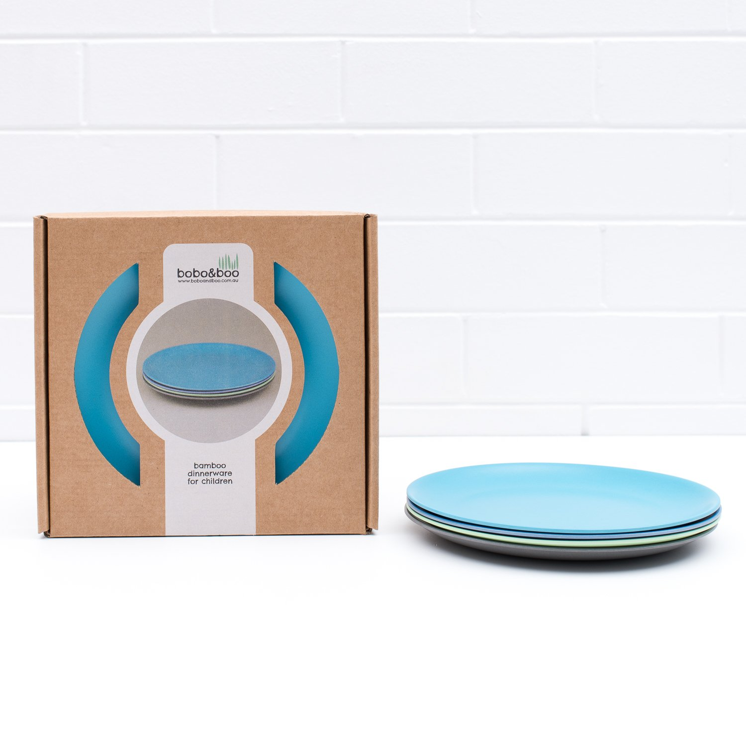 Bobo&Boo Bamboo Kids Plates, Set of 4 Eco Friendly Toddler Plates :: Non Toxic Children's Dinnerware for Babies & Big Kids :: Mix and Match :: Great Gift for Baby Showers & Birthdays, Coastal