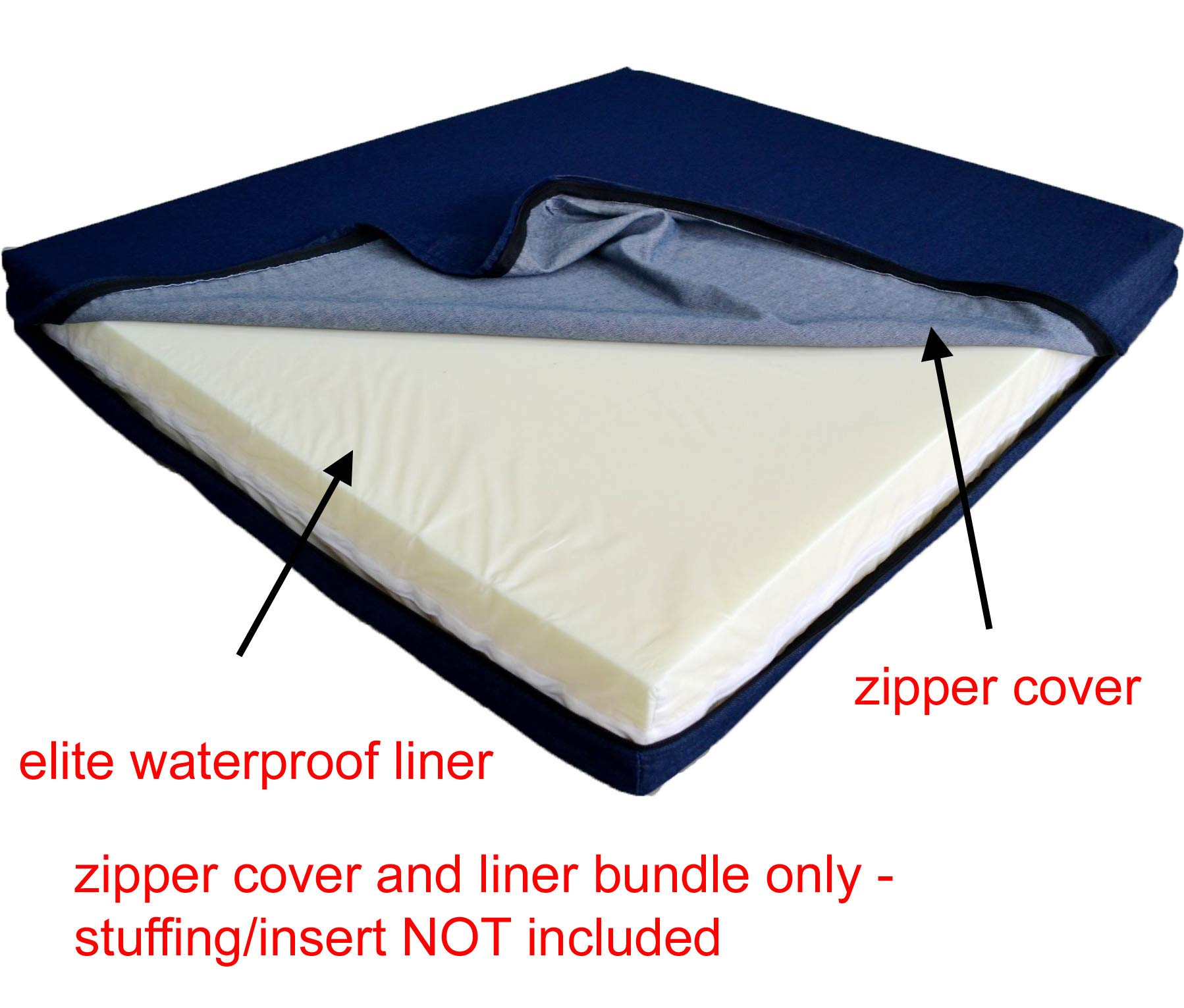 PetBed4Less DIY Durable Dog Bed Dog Pillow Pet Bed Blue Denim External Removable Duvet Case and Internal Elite Waterproof Liner - 8 Sizes - Covers only