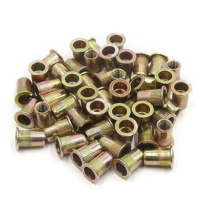 uxcell A17073100ux0534 50Pcs Zinc Plated Carbon Steel Car Rivet Nut Flat Head Threaded Insert 5/16-18 50 Pack: Automotive