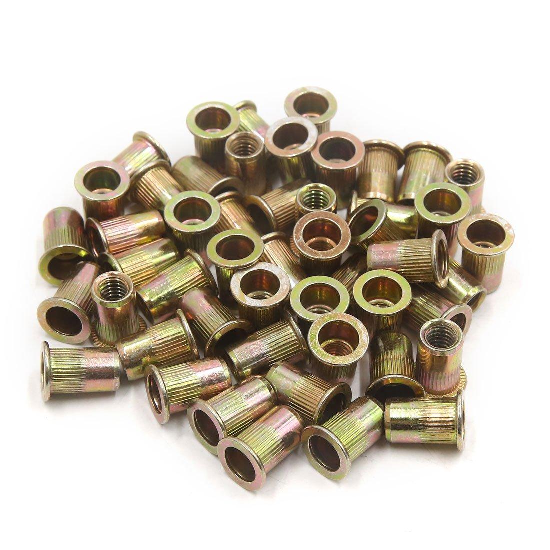 uxcell a17073100ux0534 50Pcs Zinc Plated Carbon Steel Car Rivet Nut Flat Head Threaded Insert Nutsert 5/16-18, 50 Pack