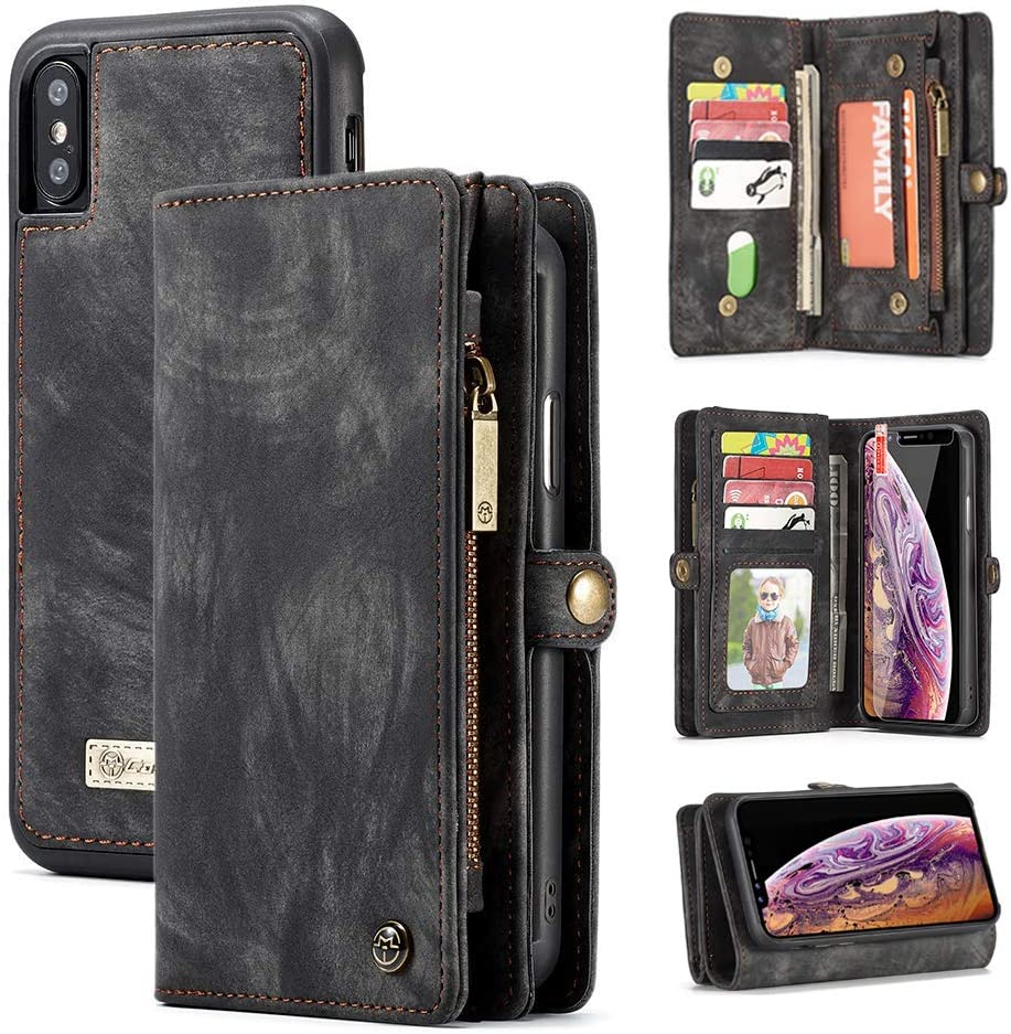 iPhone XR Wallet Case,Zttopo 2 in 1 Leather Zipper Detachable Magnetic 11 Card Slots Card Slots Money Pocket Clutch Cover with Free Screen Protector for 6.1 Inch iPhone Cases -Black Grey