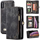 iPhone Xs Max Wallet Case,Zttopo 2 in 1 Leather Zipper Detachable Magnetic 11 Card Slots Card Slots Money Pocket Clutch…