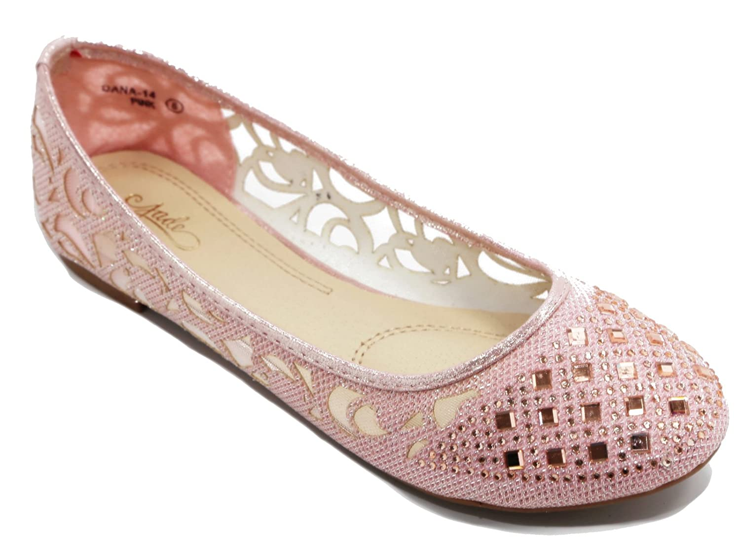 Walstar Women Rhinestone Flats Shoes Glitter Mesh Ballet Flats Slip on Flat Shoes B010TZKAF0 9 B(M) US|Pink