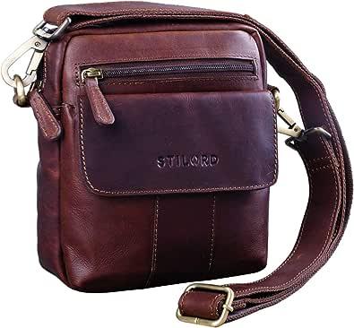 STILORD 'Jerry' Pequeño Bolso de Hombre Bandolera Piel Vintage Bolso de Mensajero para Tablet de 8.4 Pulgadas Bolso de Hombro de Cuero Auténtico