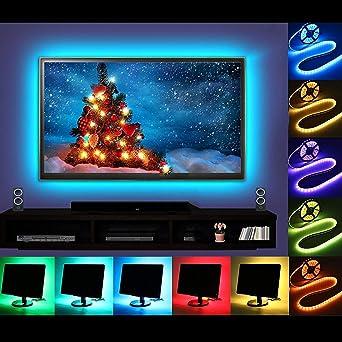 Mioke Tira de luces LED USB 2 M TV/PC Retroiluminación APP/Bluetooth, luces RGB 16 millones de colores sincronización de música para TV de 40 a 60 pulgadas, 5 m: Amazon.es: Iluminación