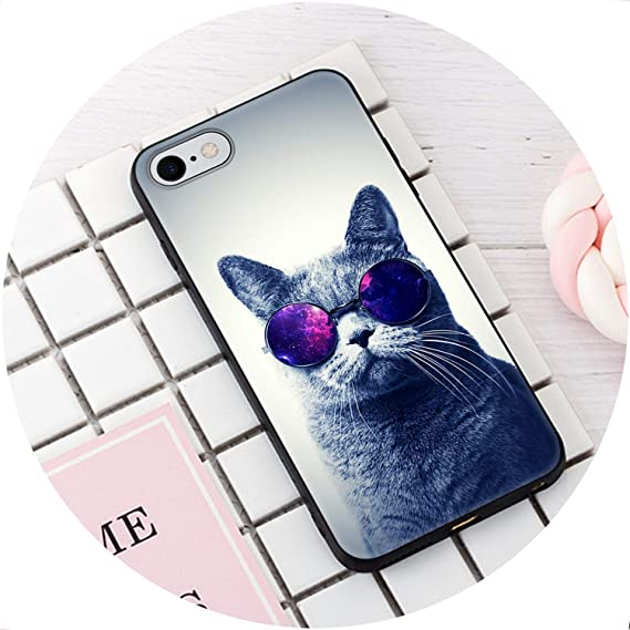 6b4630f657 Image Unavailable. Image not available for. Color: Fashion Soft TPU Cover  for iPhone 6 6S 7 8 Plus 5 5S SE Funny Cat