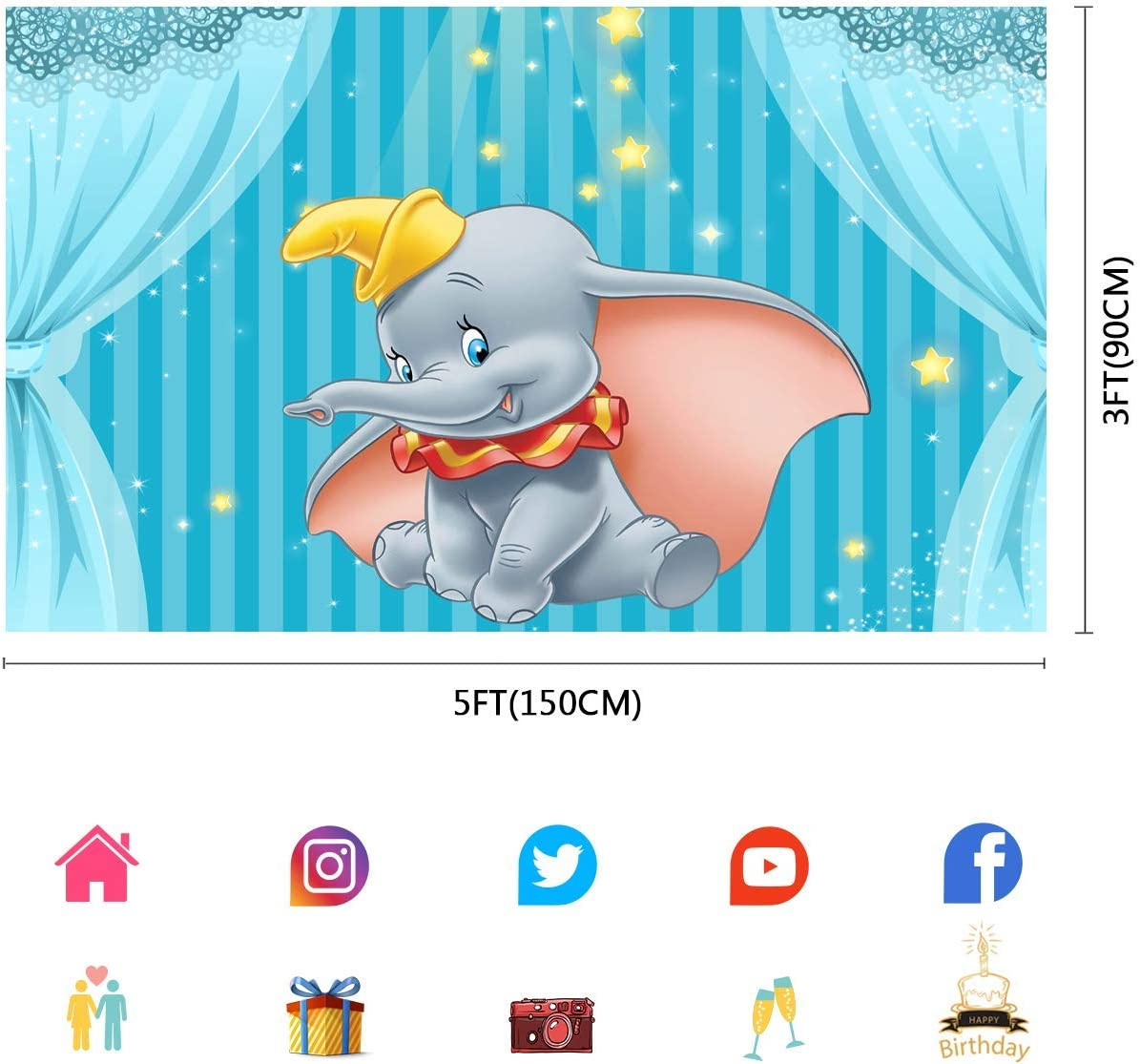 6x4ft Cartoon Dumbo Background Fairy Tale Elephant Baby Birthday Photography Backdrop Baby Shower Cake Table Decor Photo Booth Props LLFU086