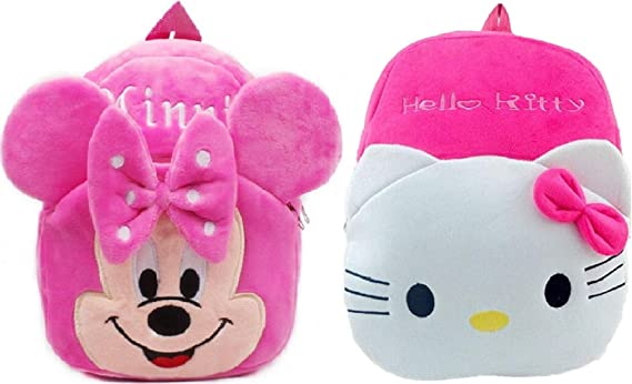 Kids School Bag H-Kitty-Minnie Travelling Bag Soft Plush Backpack School Bag for Kids- 2 to 5 Age - Pack of 2