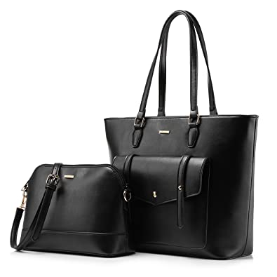 8b3dadb96b03 Amazon.com  Women Top Handle Satchel Handbags Shoulder Bag Tote Purse Set  Shell Bag Travel Bag 2 Pieces Black  Shoes