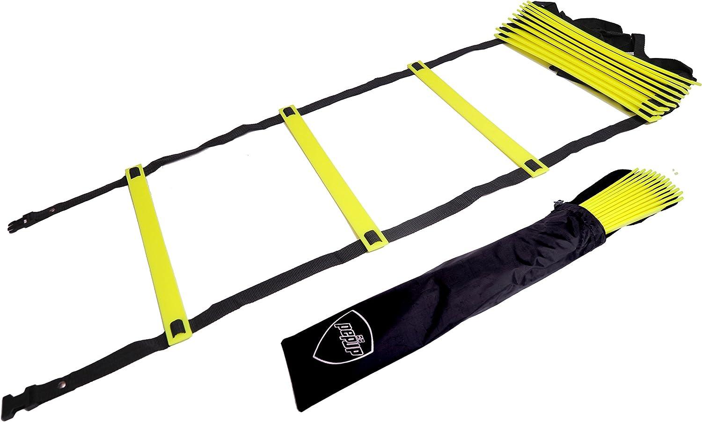 Pepup Sports Escalera de agilidad súper plana, velocidad ajustable, con bolsa de transporte gratis - 170596, Longitud 3,35 m (8 travesaños): Amazon.es: Deportes y aire libre