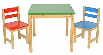 Set tavolino cm con sedie per bambini color rosso azzurro