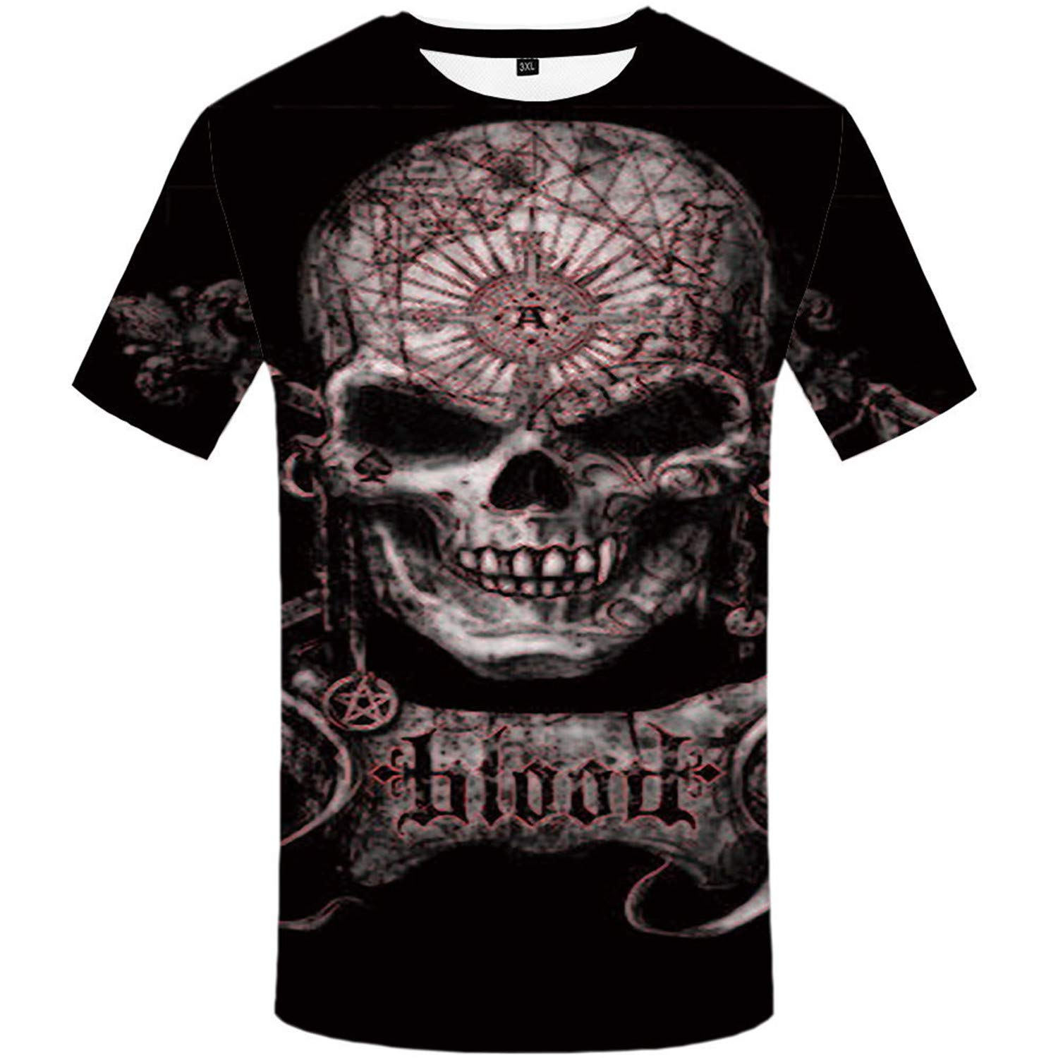 ffcc8c05 Amazon.com: Albina Collins Skull T Shirt Blood Clothes Funny Hip-Hop Tees  3D Tops Men Short Sleeve Fashion Homme: Clothing