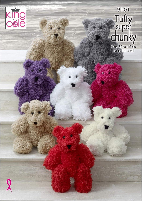 KNITTING PATTERN 3 Sizes Polar Bears Stuffed Toys Super Chunky King Cole 9094