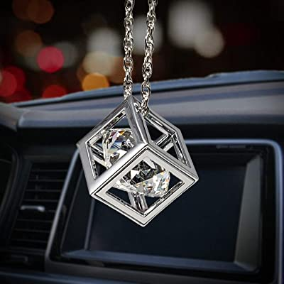 Bling Car Decor Clear Diamond Cube Rear View Mirror Charms, Floating Crystal Car Mirror Charms, Sun Catcher Hanging Ornament w/Chain, Bling Car Accessories, Car Charm & Home Decor Ornament (Clear): Automotive