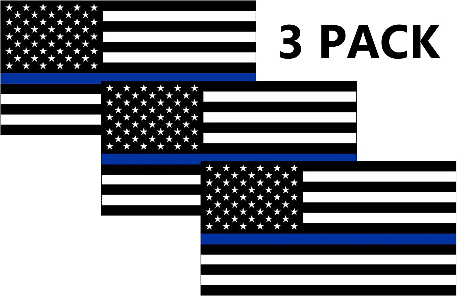 Thin Blue Line Blue Lives Matter Flag Sticker Vinyl Decal for Car Truck Window Bumper Sticker Support of Police and Law Enforcement Officers 3x5 3 Pack