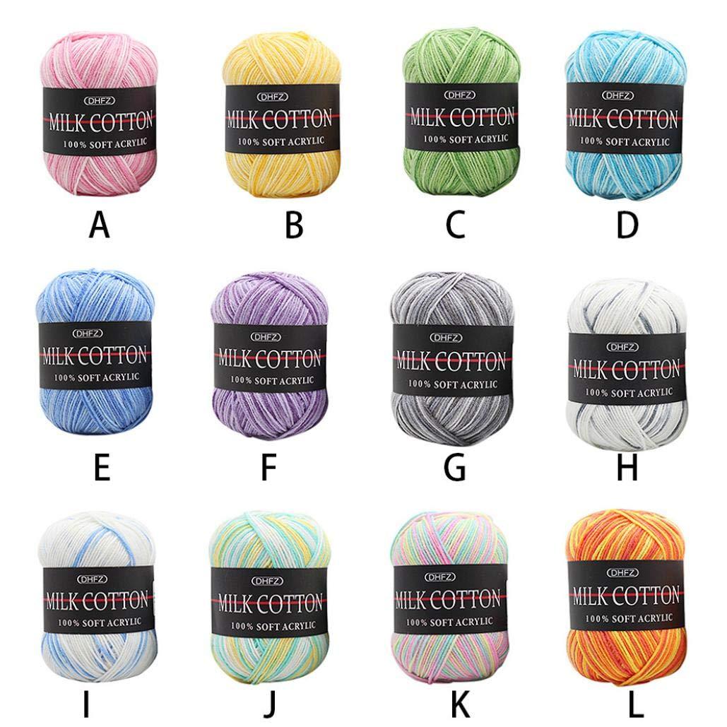 Hunpta Colorful Hand Knitting 50g Milk Soft Cotton Wool Yarn A