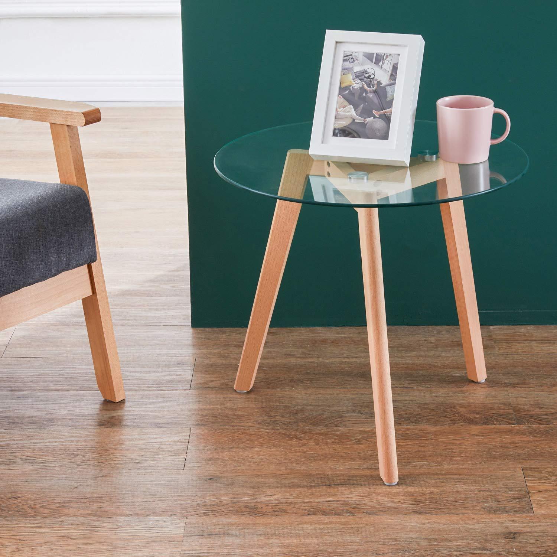 50 * 50 * 45 cm GOLDFAN Tavolino Moderno Rotondo in Vetro Tavolino da Salotto Trasparente Tavolini Laterali del Divano Tavolini di Design con Gambe in Legno di Faggio per Mobili da Ufficio