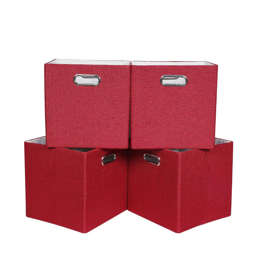 Oprass Storage Basket or Bin, Collapsible & Convenient Storage Solution for Office, Bedroom, Toys, Laundry £¨11x11x11£4 Pack Solid Rust