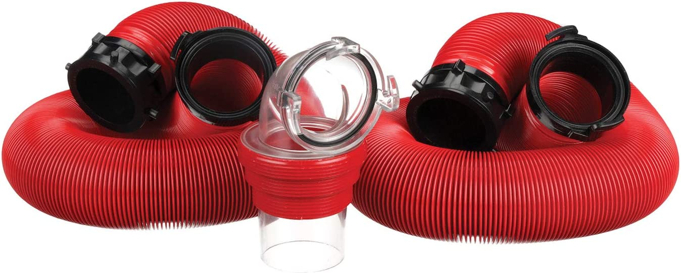 Valterra EZ Coupler 20-Foot RV Sewer Hose Kit, Universal Sewer Hose for RV Camper, Includes 2 Attachable 10-Foot Hoses with Rotating Fittings and 90 Degree Clearview Sewer Adapter