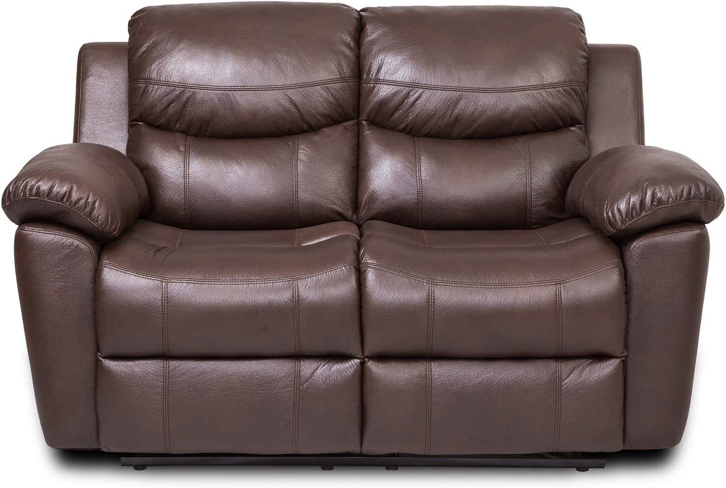 JUNTOSO 3PCS Bonded Leather Recliner Sectional Sofa Set for Living Room Chocolate, Living Room Set 3+2+1 3 Seater Couch Sofa Loveseat Chair