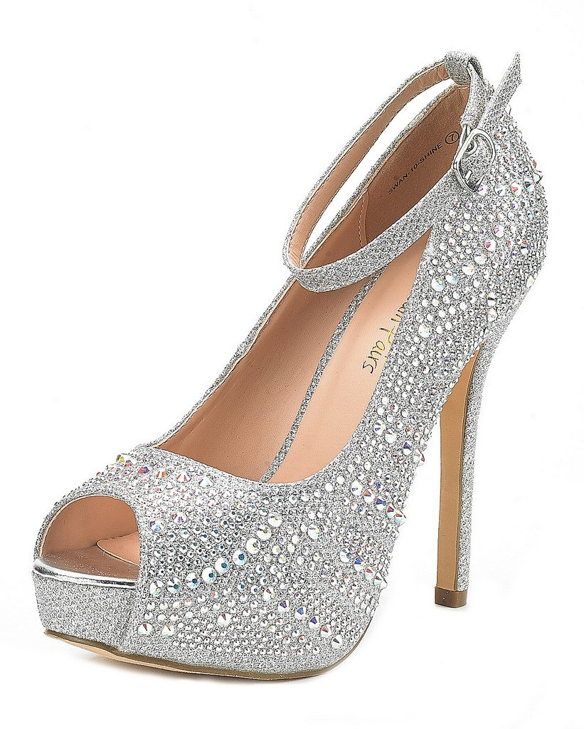DREAM PAIRS Women's Swan-10 Shine Silver High Heel Plaform Dress Pump Shoes - 9 M US