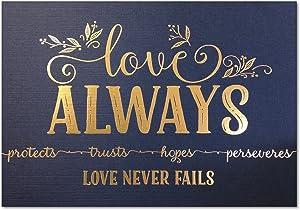 5x7 Love Never Fails, Christian Art Print, 1 Cor 13 Metallic Gold Foil (Unframed Bible Verse Wall Art)