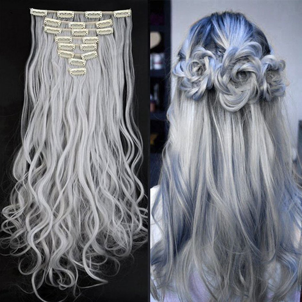 Synthetic Hair Extensions Clip on Japanese Kanekalon Fiber Hairpieces Full Head Thick Long Wavy Curly Soft Silky 8pcs 18clips for Women Girls Lady Fashion and Beauty 24'' / 24 inch (Silver Gray)