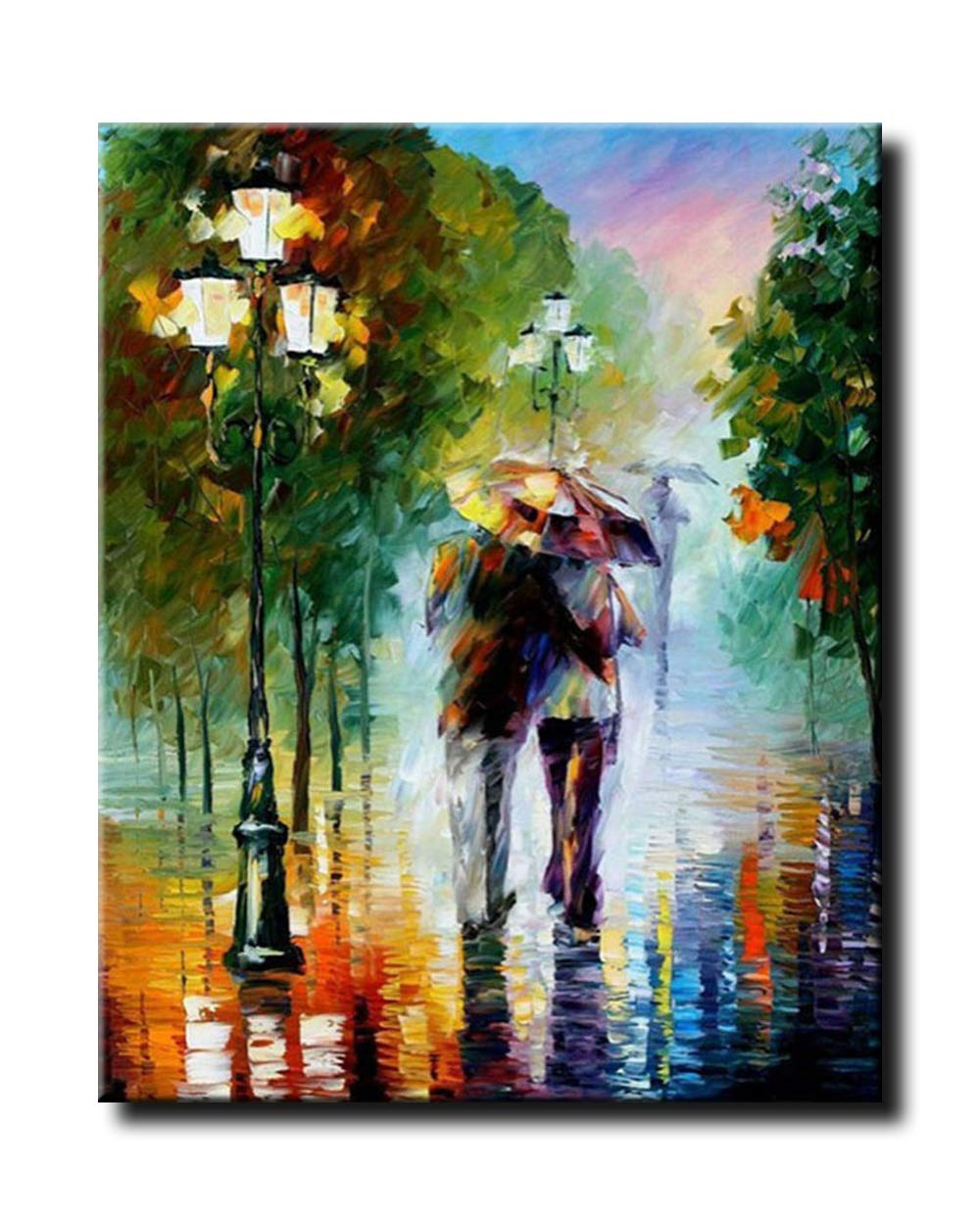 Paint by number Kits acrilico painting-romantic Rain 40,6/x 50,8/cm Shukqueen DIY dipinto a olio adulto Framed Canvas