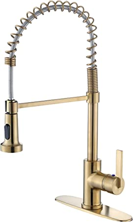 Derengge Kf 5025 Cs Single Handle Spring High Arc Kitchen Faucet With Deck Plate 1 Hole Or 3 Hole Installation Meets Cupc Nsf61 9 And Ab1953 Lead Free Brushed Gold Finished