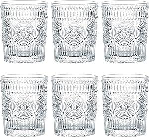 Kingrol 6 Pack 9.5 oz Romantic Water Glasses, Premium Drinking Glasses Tumblers, Vintage Glassware Setfor Juice, Beverages, Beer, Cocktail