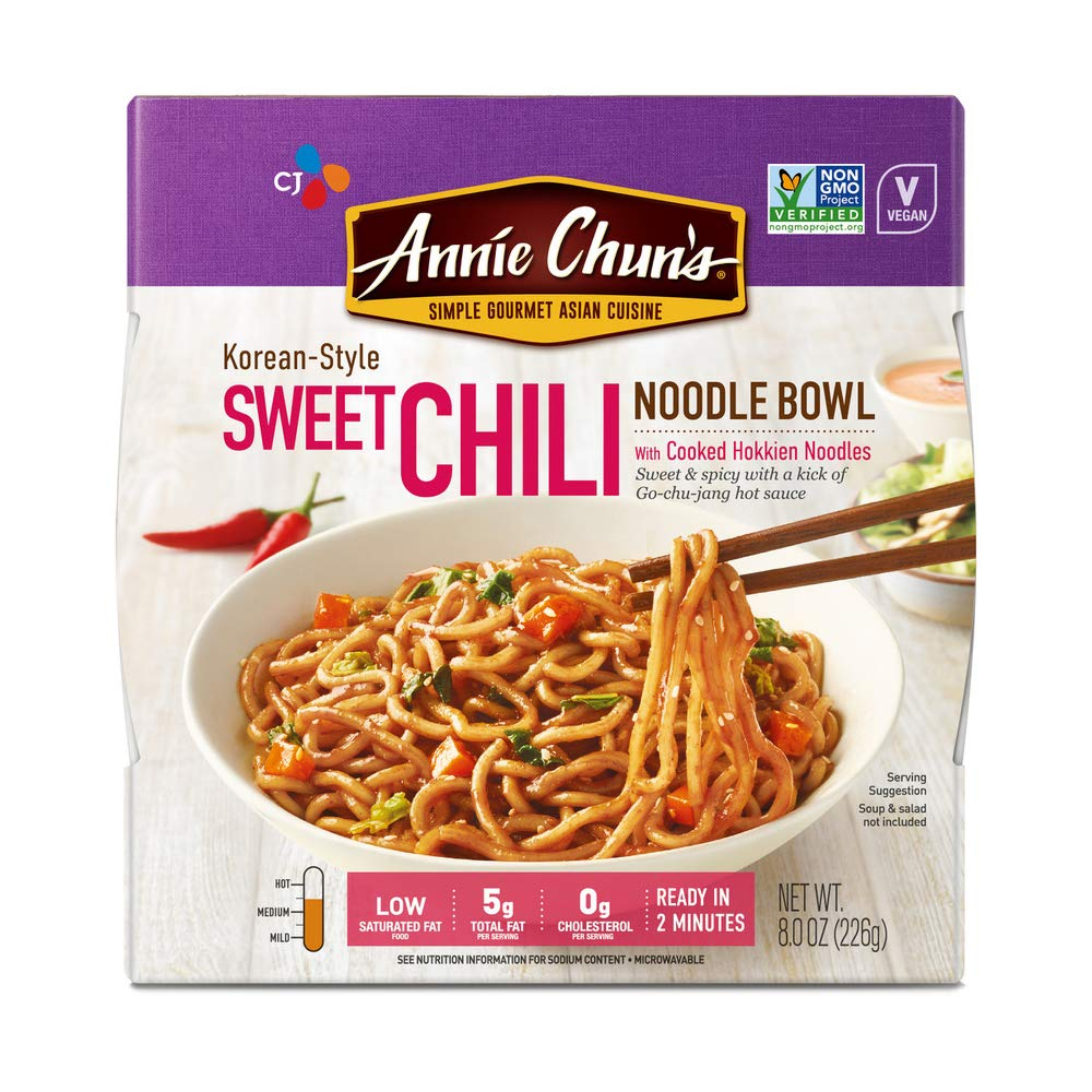 Annie Chun's Sweet Chili Noodle Bowl, Non-GMO, Vegan, Shelf-Stable, 8-oz (Pack of 6), Korean-Style, Instant Asian Ready Meal