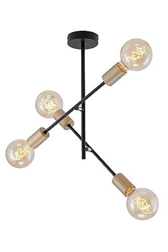 Briloner Leuchten Lámpara de Techo con 4 focos en diseño Retro y Vintage, Casquillo: E27, Metal, tamaño: 41 x 40,2 cm, Color Negro y Dorado, 60 W, ...