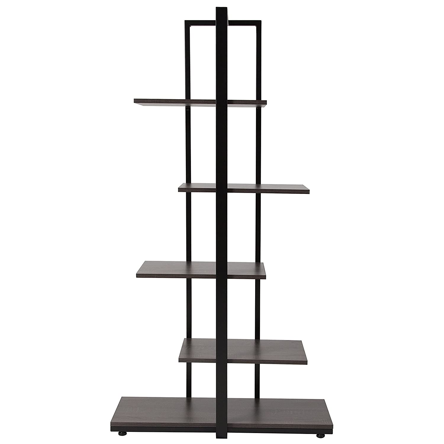 Flash Furniture Homewood Collection Driftwood Finish 5-Tier Decorative Shelf with Black Metal Frame