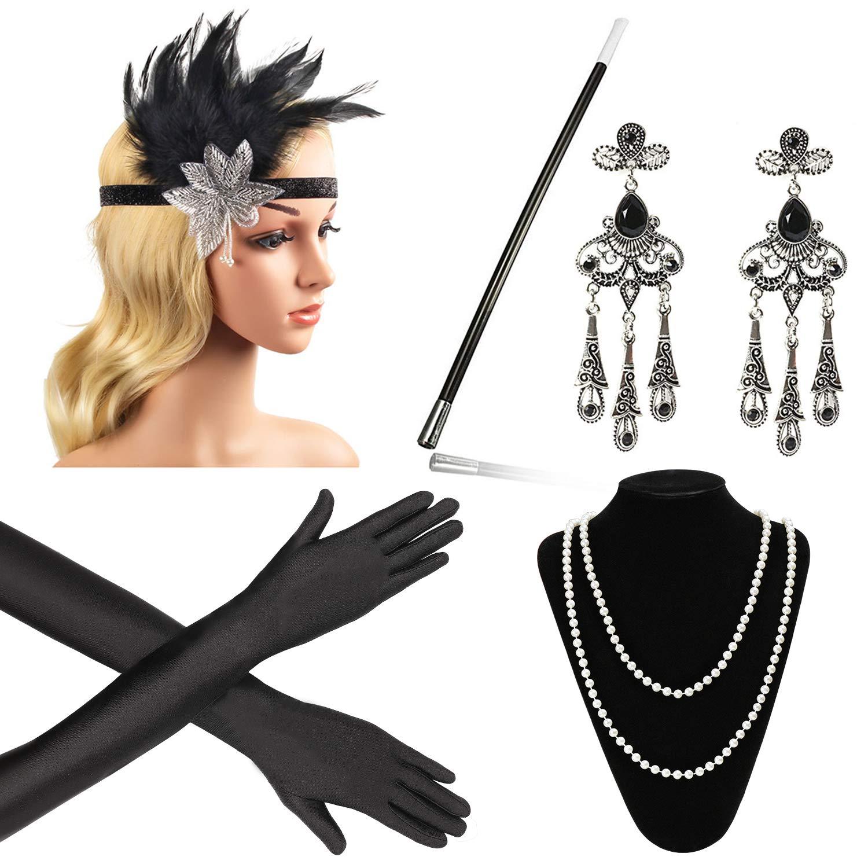 Zigarettenspitze Great Gatsby Zubeh/ör f/ür Frauen Beelittle 1922er Jahre Zubeh/ör Set Flapper Stirnband Halskette Handschuhe