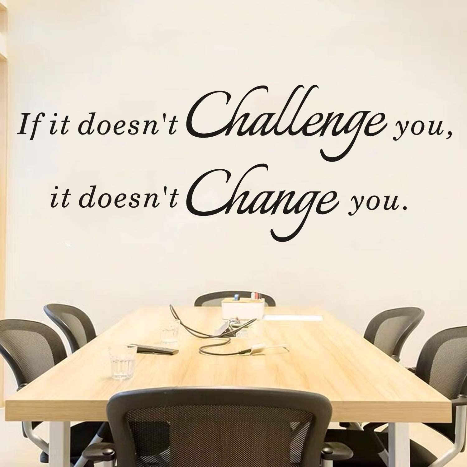 """AnFigure Inspirational Wall Decals, Gym Wall Decal, Motivational Quote Classroom School Office Dorm Fitness Home Art Decor Vinyl Stickers If it Doesn't Challenge You it Doesn't Change You 35.1""""x13"""""""